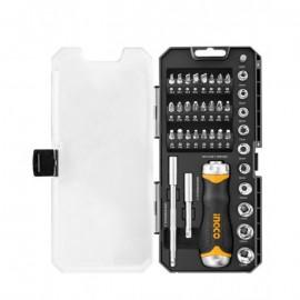 INGCO Screwdriver Socket Toolkit – 38 Pcs – Black & Silver