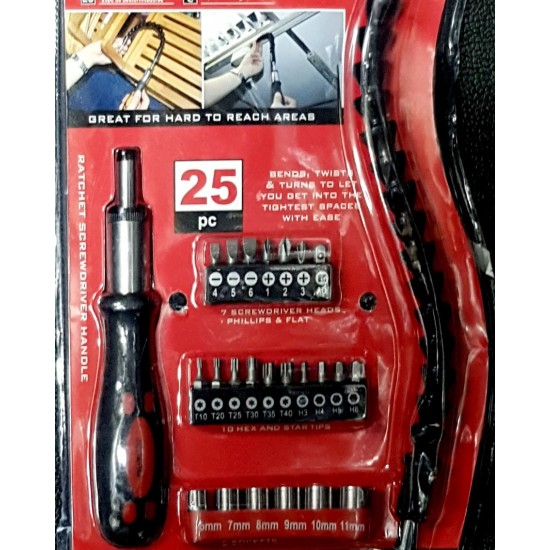 System screwdriver set with bits and screws 25 pieces