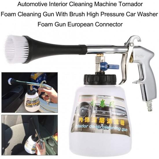 Foam cleaning gun with high pressure car brush